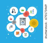 flat icons means for cleaning ... | Shutterstock .eps vector #670173469