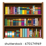 library wooden book shelf....   Shutterstock .eps vector #670174969