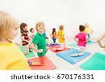 cute kid boy practicing... | Shutterstock . vector #670176331