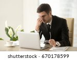 exhausted tired businessman... | Shutterstock . vector #670178599