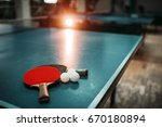 Ping Pong Table  Rackets And...
