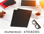 stylish minimalistic workplace...   Shutterstock . vector #670182301