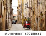 piaggio ape standing at the... | Shutterstock . vector #670188661