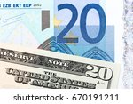 Small photo of Twenty dollar and twenty euro banknotes. High resolution photo.