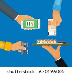 cashless and cash payment.... | Shutterstock .eps vector #670196005