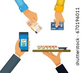 cashless and cash payment. the...   Shutterstock .eps vector #670196011