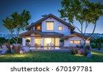 3d rendering of modern cozy...   Shutterstock . vector #670197781