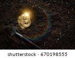 mining golden bitcoins | Shutterstock . vector #670198555