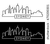 sydney skyline. linear style.... | Shutterstock .eps vector #670200301