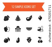 set of 12 editable fruits icons.... | Shutterstock .eps vector #670201711
