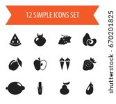 set of 12 editable berry icons. ... | Shutterstock .eps vector #670201825
