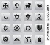 set of 16 editable religion... | Shutterstock .eps vector #670201855