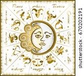 zodiac signs  horoscope  vector ... | Shutterstock .eps vector #670202191