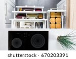 top view of organized kitchen... | Shutterstock . vector #670203391