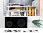 top view of organized kitchen... | Shutterstock . vector #670203391