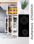 top view of organized kitchen... | Shutterstock . vector #670203424