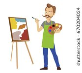 cute male artist with big...   Shutterstock .eps vector #670204024