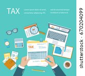 tax calculation payment concept.... | Shutterstock .eps vector #670204099