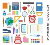 school supplies and items set... | Shutterstock .eps vector #670204105