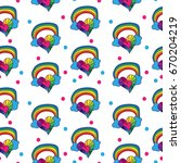 seamless pattern with little... | Shutterstock .eps vector #670204219