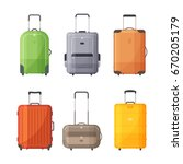 suitcases with handle for... | Shutterstock .eps vector #670205179