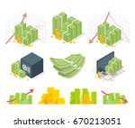 big set of money icons. piles... | Shutterstock .eps vector #670213051