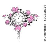 magnolia flowers and clock   Shutterstock .eps vector #670218199