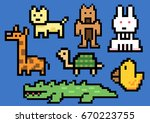 animal gang pixel art. elements ... | Shutterstock .eps vector #670223755