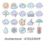 collection of outlined icons ... | Shutterstock .eps vector #670224049