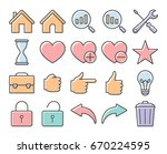 collection of outlined icons ... | Shutterstock .eps vector #670224595