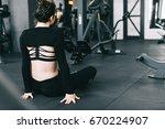 fitness sportswoman in fashion... | Shutterstock . vector #670224907
