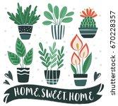 home.sweet.home. set of cute... | Shutterstock .eps vector #670228357