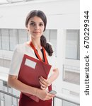 beautiful smiling businesswoman ...   Shutterstock . vector #670229344