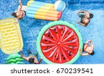 happy friends playing with ball ... | Shutterstock . vector #670239541