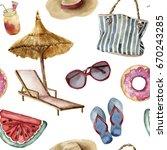 Watercolor Summer Beach Patter...