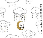 seamless pattern with cute...   Shutterstock .eps vector #670243321