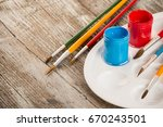 special painting tools on... | Shutterstock . vector #670243501