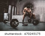 athlete training in a gym  ... | Shutterstock . vector #670245175