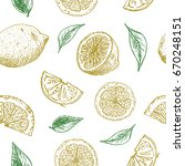 seamless background with lemon... | Shutterstock .eps vector #670248151
