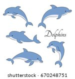 set of playful happy dolphins... | Shutterstock . vector #670248751