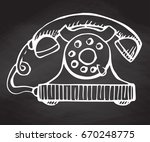 sketch of retro phone isolated... | Shutterstock .eps vector #670248775