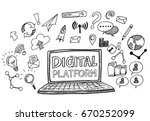hand draw business doodles... | Shutterstock .eps vector #670252099