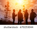 silhouette teams engineer... | Shutterstock . vector #670253044