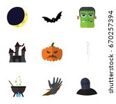 flat icon halloween set of tomb ... | Shutterstock .eps vector #670257394