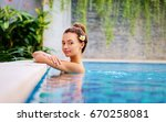 swimming pool spa retreat... | Shutterstock . vector #670258081