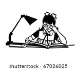 girl studying at desk   retro... | Shutterstock .eps vector #67026025