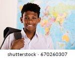 young african boy in his school ... | Shutterstock . vector #670260307