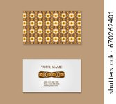 set of business card with hand... | Shutterstock .eps vector #670262401