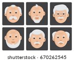 flat set of old men on gray... | Shutterstock .eps vector #670262545