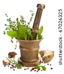 mortar with herbs isolated | Shutterstock . vector #67026325